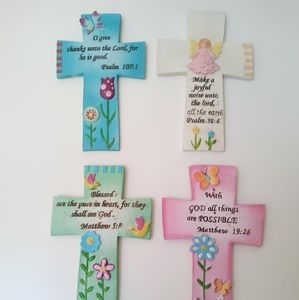 "Easter  Ceramic 7.4"" Crosses With Bible Verses Set"